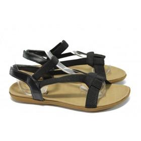 Дамски сандали - висококачествен текстилен материал - черни - РС 3721 черен