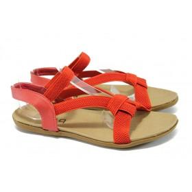 Дамски сандали - висококачествен текстилен материал - червени - РС 3721 червен