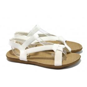 Дамски сандали - висококачествен текстилен материал - бели - РС 3721 бял