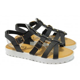 Дамски сандали - висококачествена еко-кожа - черни - РС 483 черен