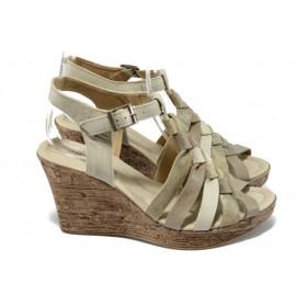 Дамски сандали - естествен набук - бежови - ИО 1577 бежов