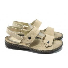 Дамски сандали - естествена кожа - бежови - ГР 307002 бежов