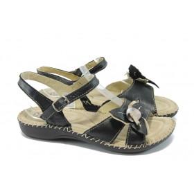 Дамски сандали - естествена кожа - черни - ГР 4076 черен