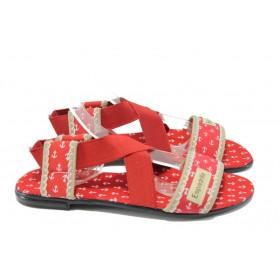Дамски сандали - висококачествен текстилен материал - червени - МИ 24 червен