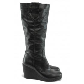 Дамски ботуши - естествена кожа - черни - ГО 4391 черен