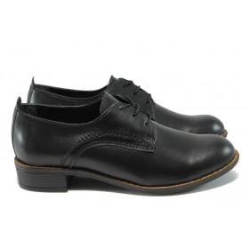 Дамски обувки на среден ток - естествена кожа - черни - НБ 1011-853 черен