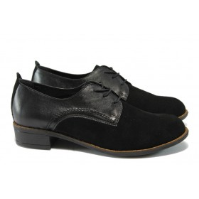 Дамски обувки на среден ток - естествена кожа с естествен велур - черни - НБ 1011-853 черен