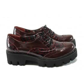 Дамски обувки на среден ток - естествена кожа-лак - бордо - МИ 741-5630 бордо