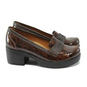 Дамски обувки на среден ток - естествена кожа-лак - кафяви - МИ 759-125 кафяв