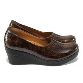 Дамски обувки на платформа - естествена кожа-лак - кафяви - МИ 721-314 кафяв