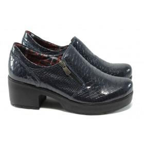 Дамски обувки на среден ток - естествена кожа-лак - сини - МИ 758-125 син