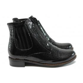 Дамски боти - естествена кожа-лак - черни - МИ 2881-11 черен
