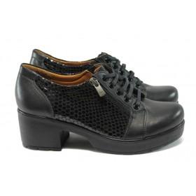 Дамски обувки на среден ток - естествена кожа-лак - черни - МИ 760-125 черен