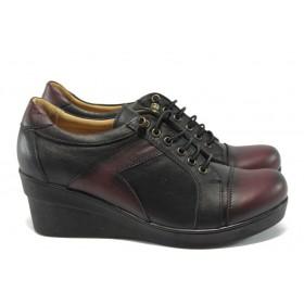 Дамски обувки на платформа - естествена кожа - черни - МИ 1996 черно-бордо