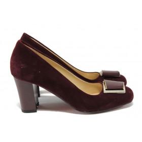 Дамски обувки на висок ток - висококачествен еко-велур - бордо - МИ 201 бордо