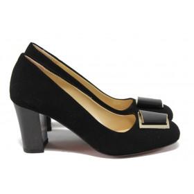Дамски обувки на висок ток - висококачествен еко-велур - черни - МИ 201 черен