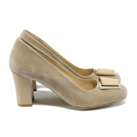 Дамски обувки на висок ток - висококачествен еко-велур - бежови - МИ 201 визон