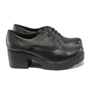 Дамски обувки на среден ток - естествена кожа - черни - МИ 98-4834 черен