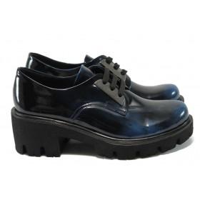 Дамски обувки на среден ток - естествена кожа-лак - сини - МИ 31 син лак