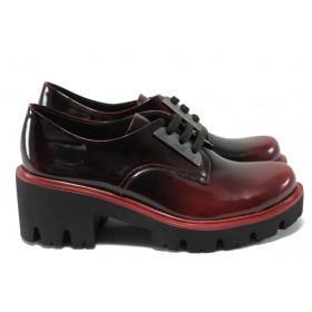 Дамски обувки на среден ток - естествена кожа-лак - бордо - МИ 31 бордо лак