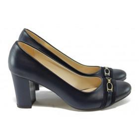 Дамски обувки на висок ток - висококачествена еко-кожа - сини - МИ 812 син