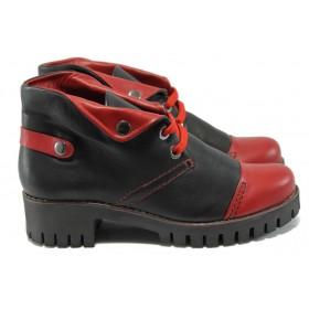 Дамски боти - естествена кожа - черни - ГА 781-23 черен-червен