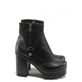 Дамски боти - естествена кожа - черни - МИ 109-107 черно
