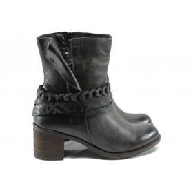 Дамски боти - естествена кожа - черни - ИО 1605 черен опушен
