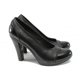 Дамски обувки на висок ток - естествена кожа - черни - НЛ 140-7976 черен кожа-лак