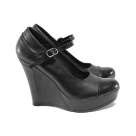 Дамски обувки на платформа - естествена кожа - черни - НЛ 200-8208 черен кожа-лак