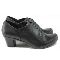 Дамски обувки на среден ток - естествена кожа - черни - НЛ 182-4810 черен кожа-лак