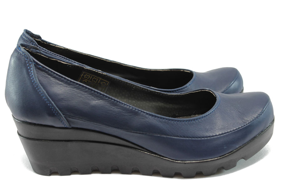 Дамски обувки на платформа - естествена кожа - сини - НЛ 169-15431 син