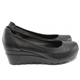 Дамски обувки на платформа - естествена кожа - черни - НЛ 169-15431 черен