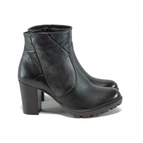 Дамски боти - естествена кожа - черни - ИО 1624 черен