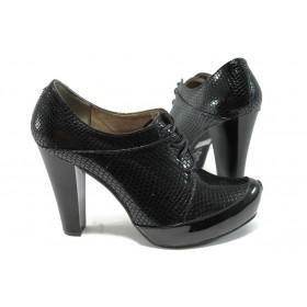"""Дамски обувки на висок ток - еко-кожа с """"кроко"""" мотив - черни - МИ 290 черна змия - 2015"""