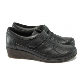 Дамски обувки на платформа - естествена кожа - черни - МИ 2302 черен