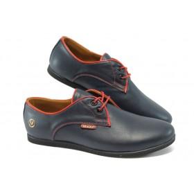 Равни дамски обувки - естествена кожа - сини - МИ 034 син