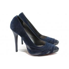 Дамски обувки на висок ток - висококачествен еко-велур - сини - МИ 184 син