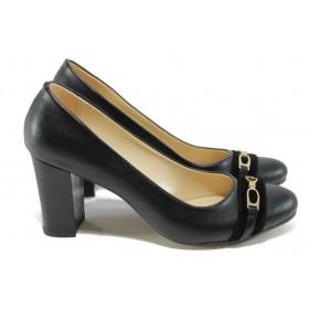 Дамски обувки на висок ток - висококачествена еко-кожа - черни - МИ 812 черен