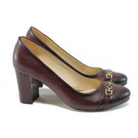 Дамски обувки на висок ток - висококачествена еко-кожа - бордо - МИ 819 бордо