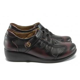 Дамски обувки на платформа - висококачествена еко-кожа - бордо - МИ 201 бордо-черно