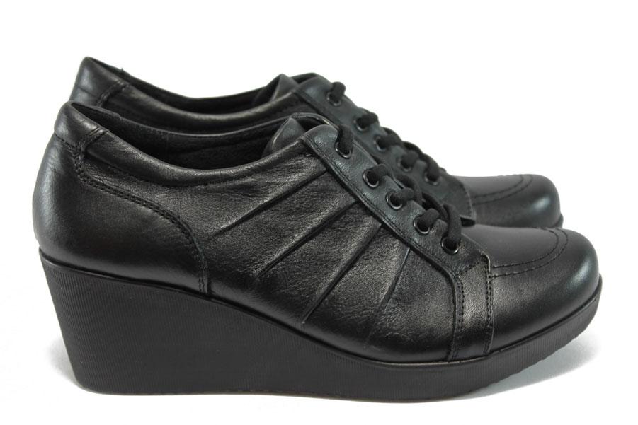 Дамски обувки на платформа - естествена кожа - черни - МИ 616 черен