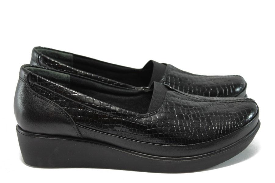 Дамски обувки на платформа - естествена кожа - черни - МИ 012 черен