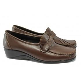 Дамски обувки на платформа - естествена кожа - тъмнокафяв - МИ 200 т.кафяв гигант