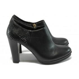 Дамски обувки на висок ток - естествена кожа - черни - МИ 6060-11707 черен