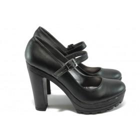 Дамски обувки на висок ток - висококачествена еко-кожа - черни - МИ 2 черен
