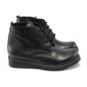 Дамски боти - естествена кожа - черни - НБ 32338-595 черен