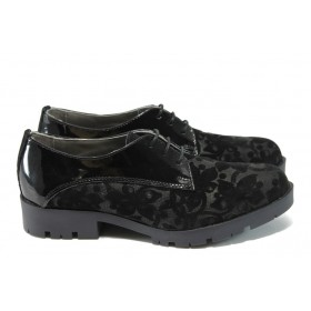 Дамски обувки на среден ток - естествен велур - черни - ГА 790 черен