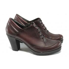 Дамски обувки на висок ток - естествена кожа - бордо - МИ 938 бордо