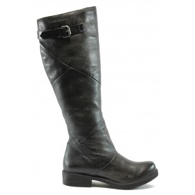 Дамски ботуши - естествена кожа - черни - ИО 1626 черен